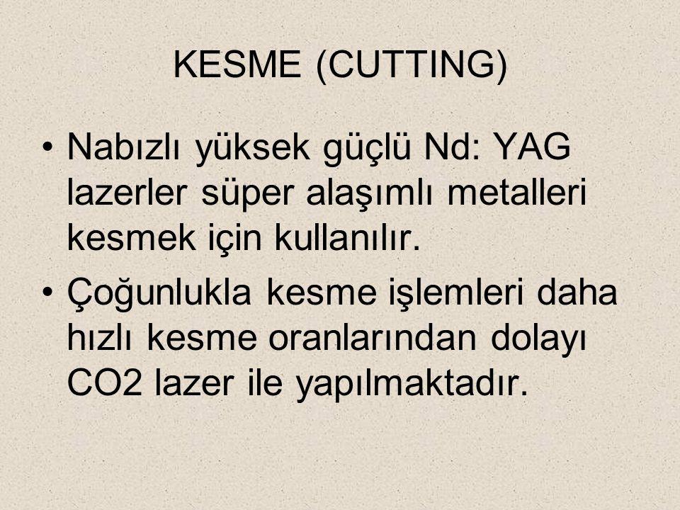 KESME (CUTTING) Nabızlı yüksek güçlü Nd: YAG lazerler süper alaşımlı metalleri kesmek için kullanılır.