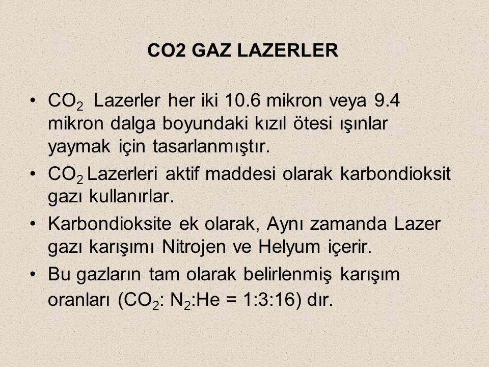 CO2 GAZ LAZERLER CO2 Lazerler her iki 10.6 mikron veya 9.4 mikron dalga boyundaki kızıl ötesi ışınlar yaymak için tasarlanmıştır.