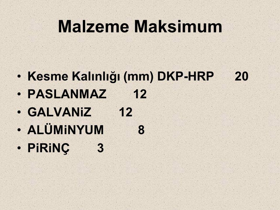 Malzeme Maksimum Kesme Kalınlığı (mm) DKP-HRP 20 PASLANMAZ 12