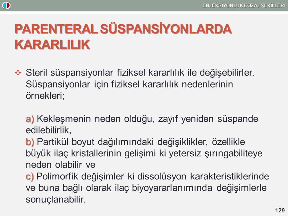 PARENTERAL SÜSPANSİYONLARDA KARARLILIK