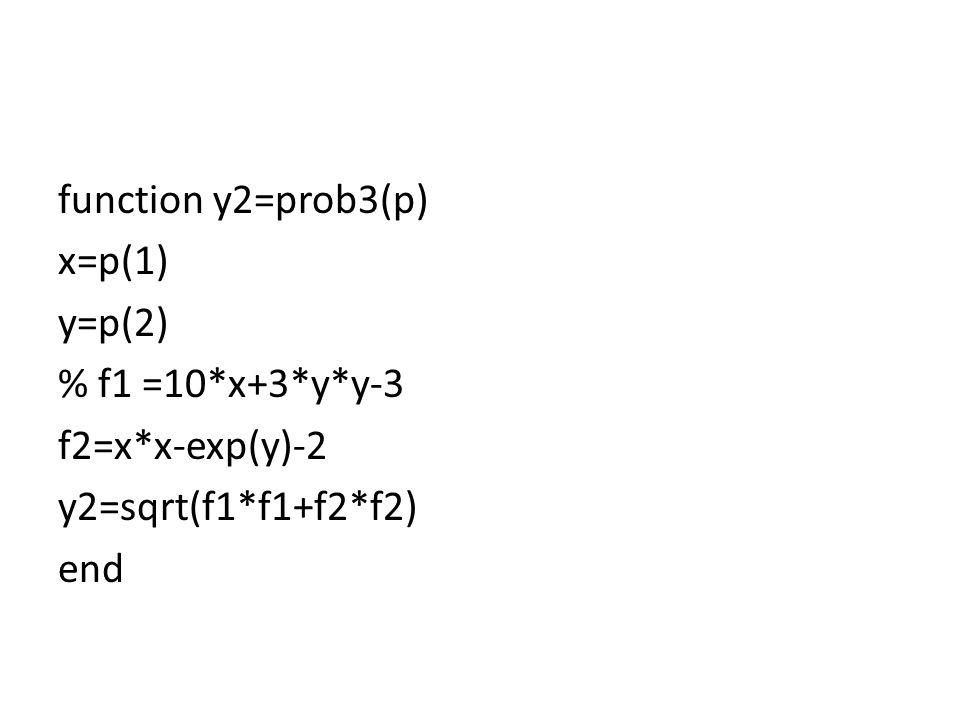 function y2=prob3(p) x=p(1) y=p(2) % f1 =10. x+3. y. y-3 f2=x