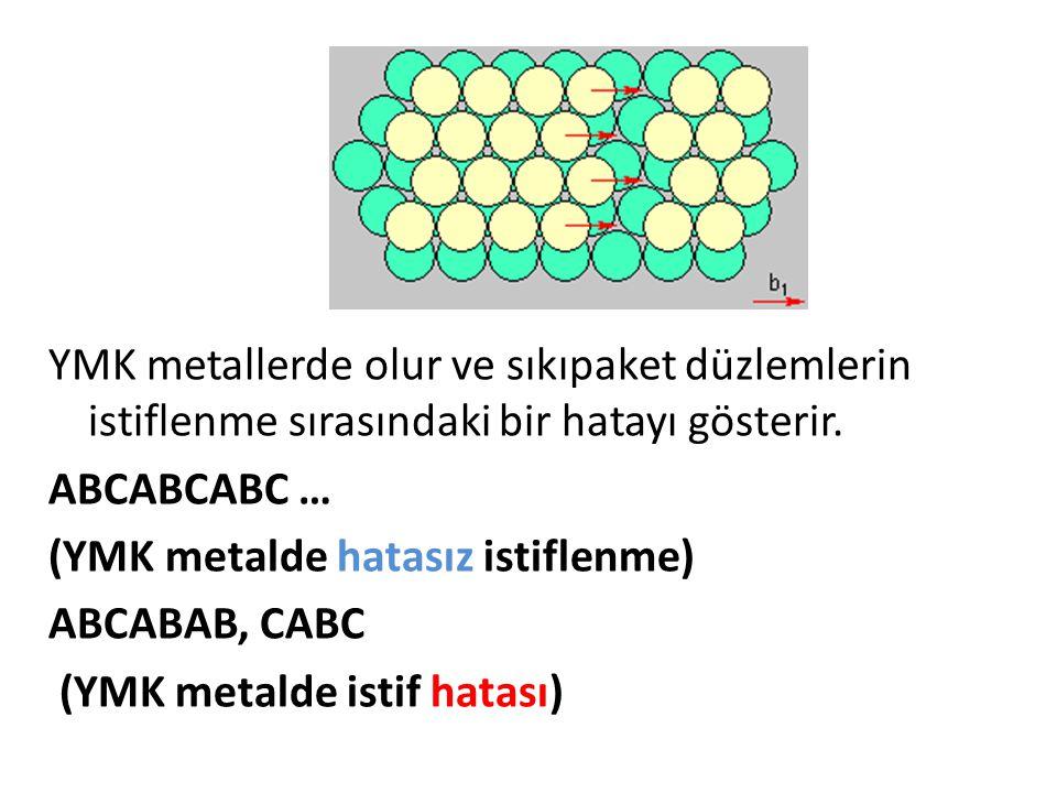 YMK metallerde olur ve sıkıpaket düzlemlerin istiflenme sırasındaki bir hatayı gösterir.
