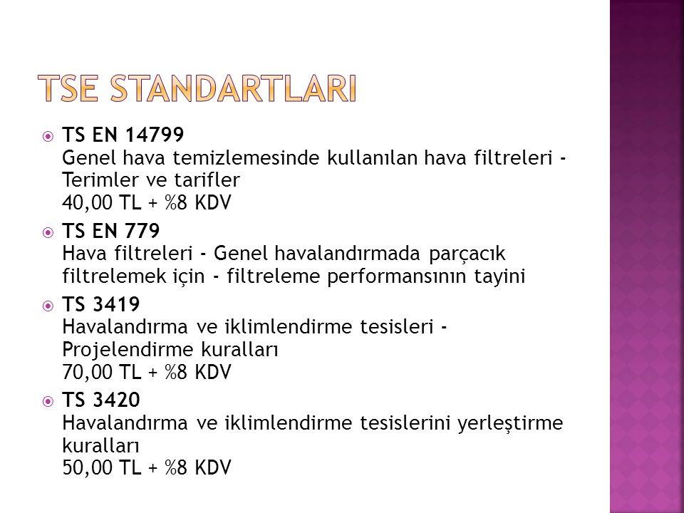 Tse STANDARTLARI TS EN 14799 Genel hava temizlemesinde kullanılan hava filtreleri - Terimler ve tarifler 40,00 TL + %8 KDV.