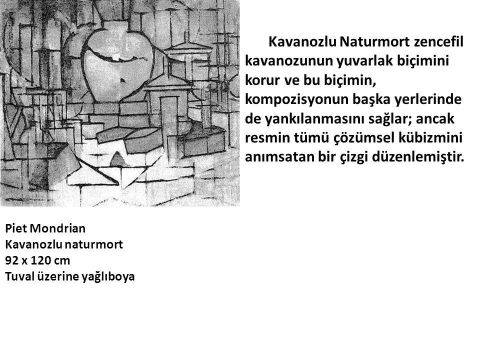 Kavanozlu Naturmort zencefil kavanozunun yuvarlak biçimini korur ve bu biçimin, kompozisyonun başka yerlerinde de yankılanmasını sağlar; ancak resmin tümü çözümsel kübizmini anımsatan bir çizgi düzenlemiştir.