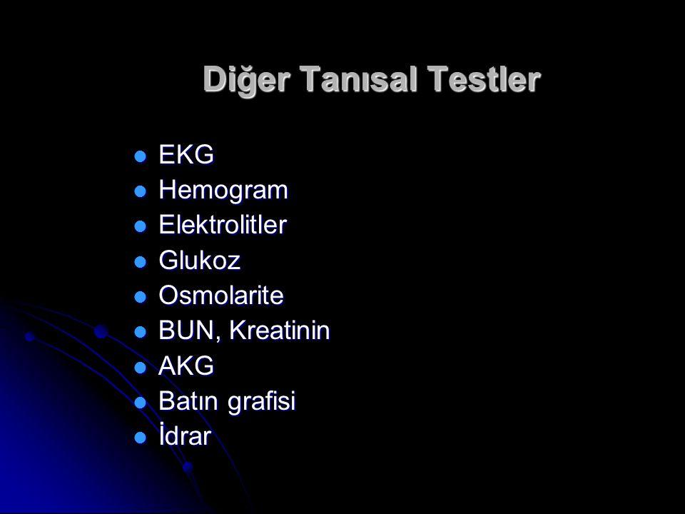 Diğer Tanısal Testler EKG Hemogram Elektrolitler Glukoz Osmolarite