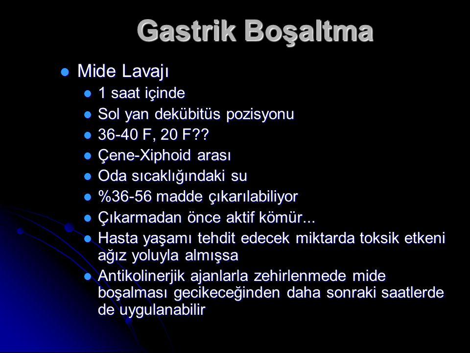 Gastrik Boşaltma Mide Lavajı 1 saat içinde Sol yan dekübitüs pozisyonu