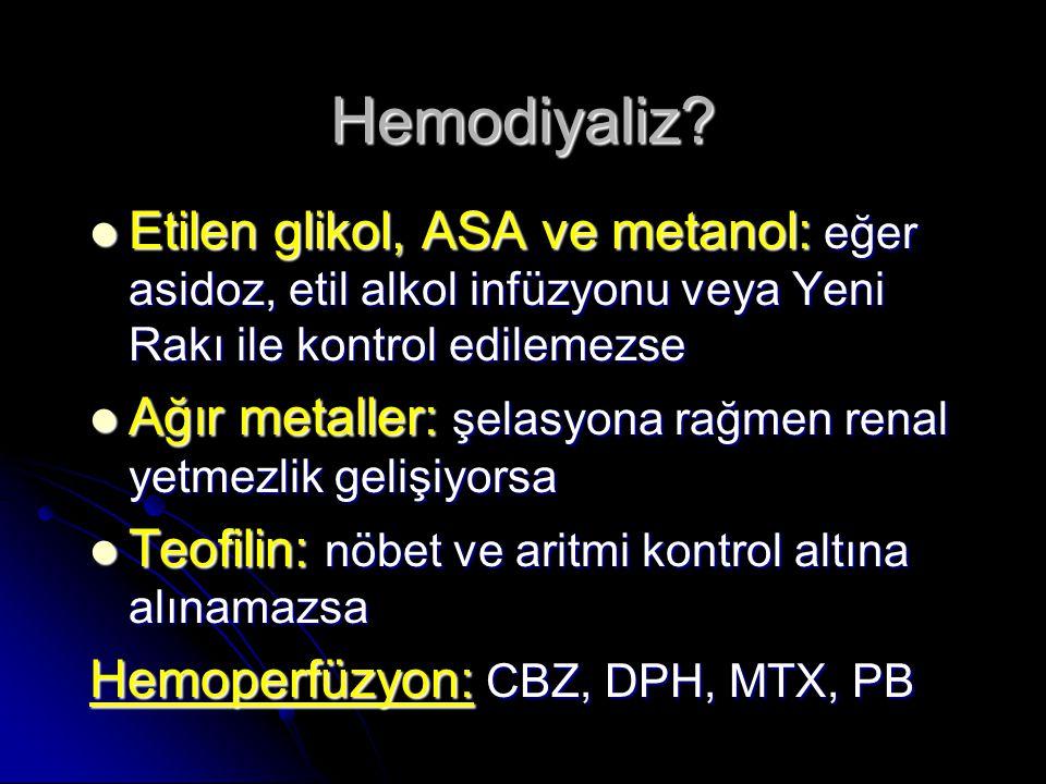 Hemodiyaliz Etilen glikol, ASA ve metanol: eğer asidoz, etil alkol infüzyonu veya Yeni Rakı ile kontrol edilemezse.