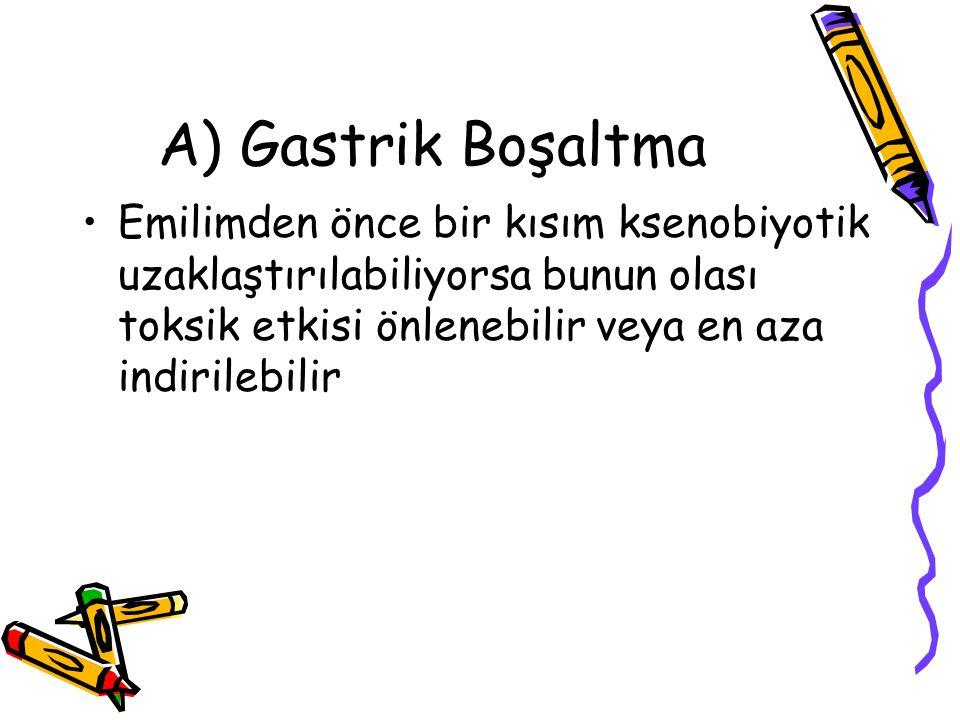 A) Gastrik Boşaltma Emilimden önce bir kısım ksenobiyotik uzaklaştırılabiliyorsa bunun olası toksik etkisi önlenebilir veya en aza indirilebilir.