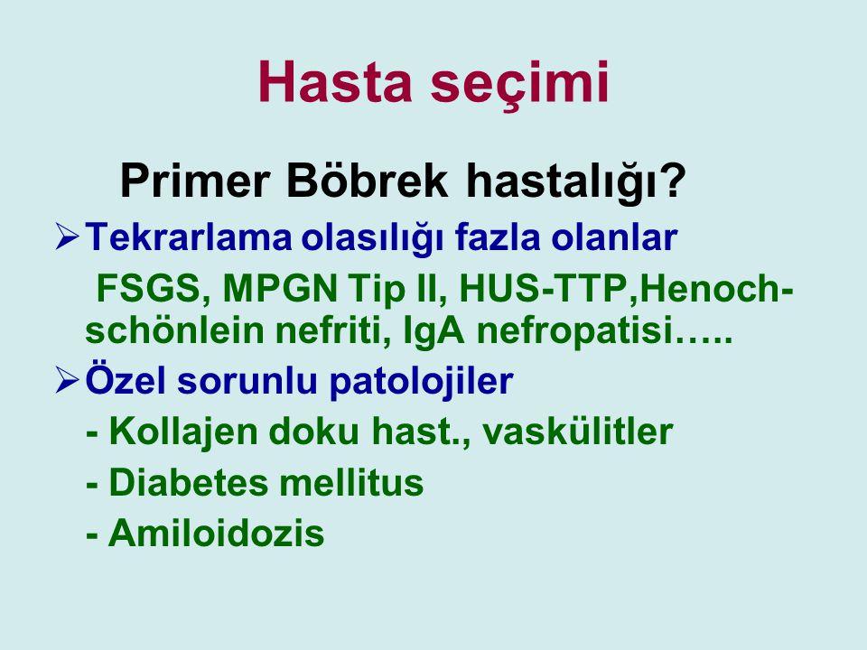 Hasta seçimi Primer Böbrek hastalığı
