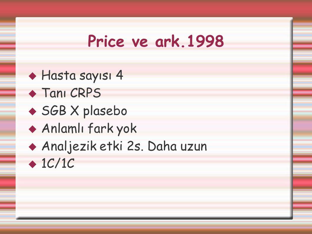 Price ve ark.1998 Hasta sayısı 4 Tanı CRPS SGB X plasebo