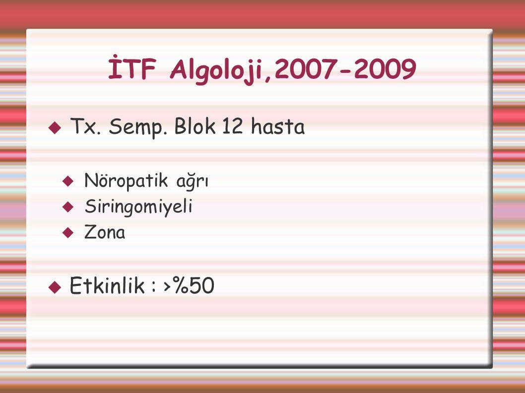 İTF Algoloji,2007-2009 Tx. Semp. Blok 12 hasta Etkinlik : ›%50