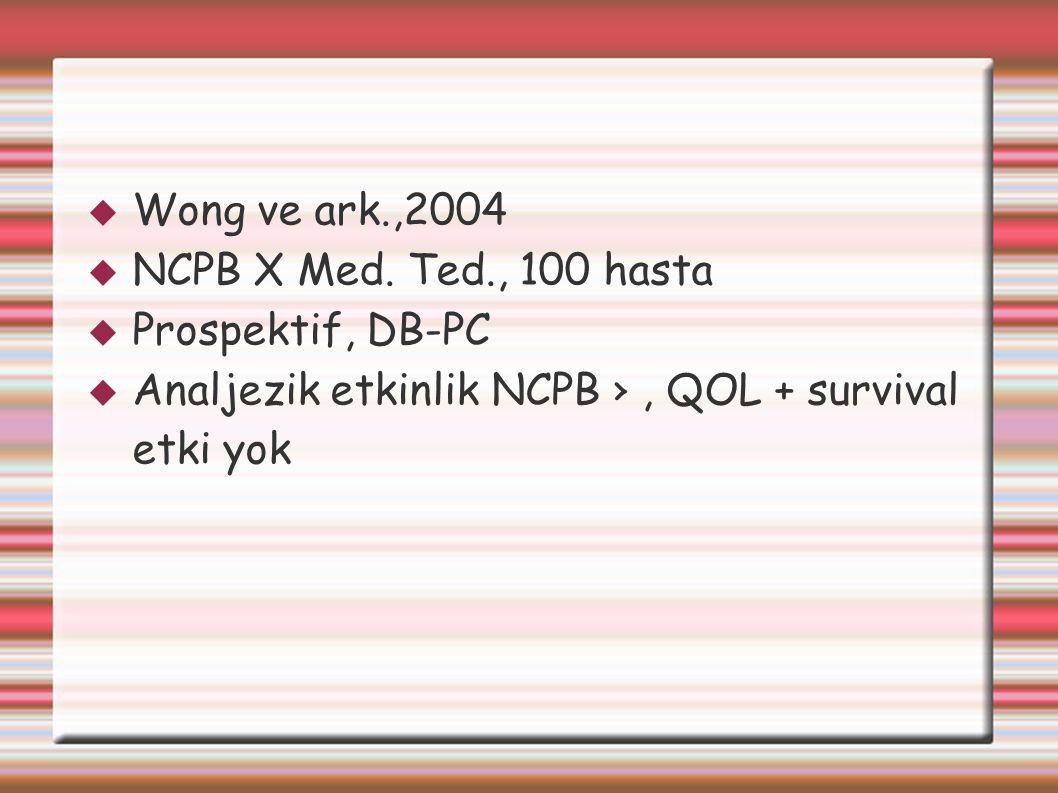Wong ve ark.,2004 NCPB X Med. Ted., 100 hasta. Prospektif, DB-PC.