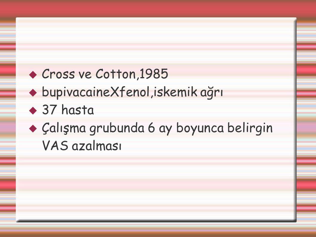 Cross ve Cotton,1985 bupivacaineXfenol,iskemik ağrı.