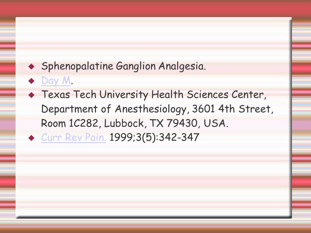 Sphenopalatine Ganglion Analgesia.