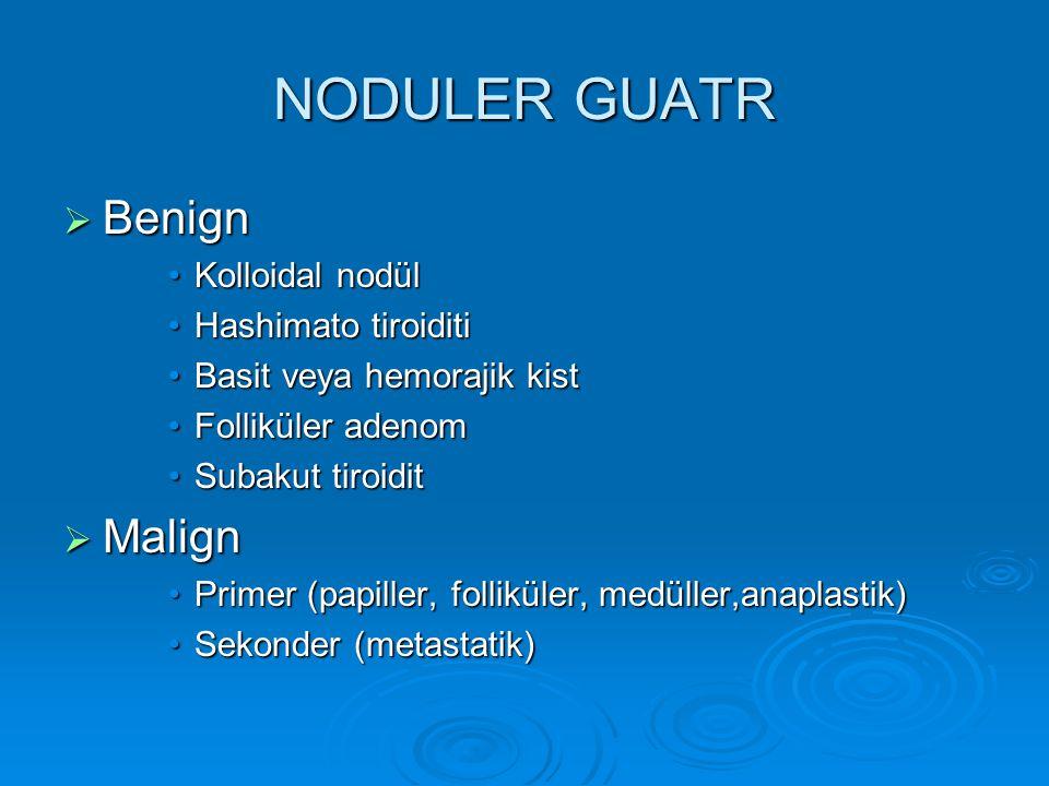 NODULER GUATR Benign Malign Kolloidal nodül Hashimato tiroiditi