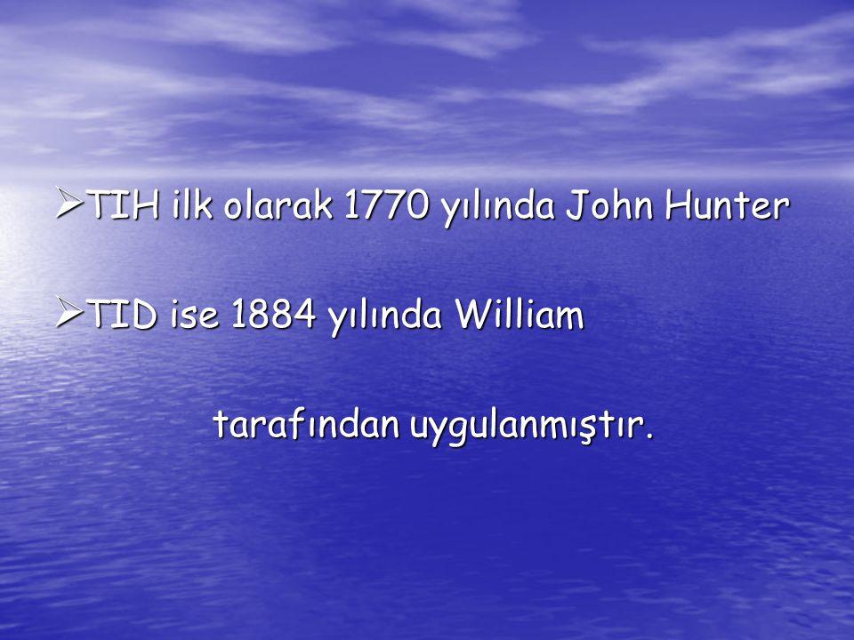 TIH ilk olarak 1770 yılında John Hunter