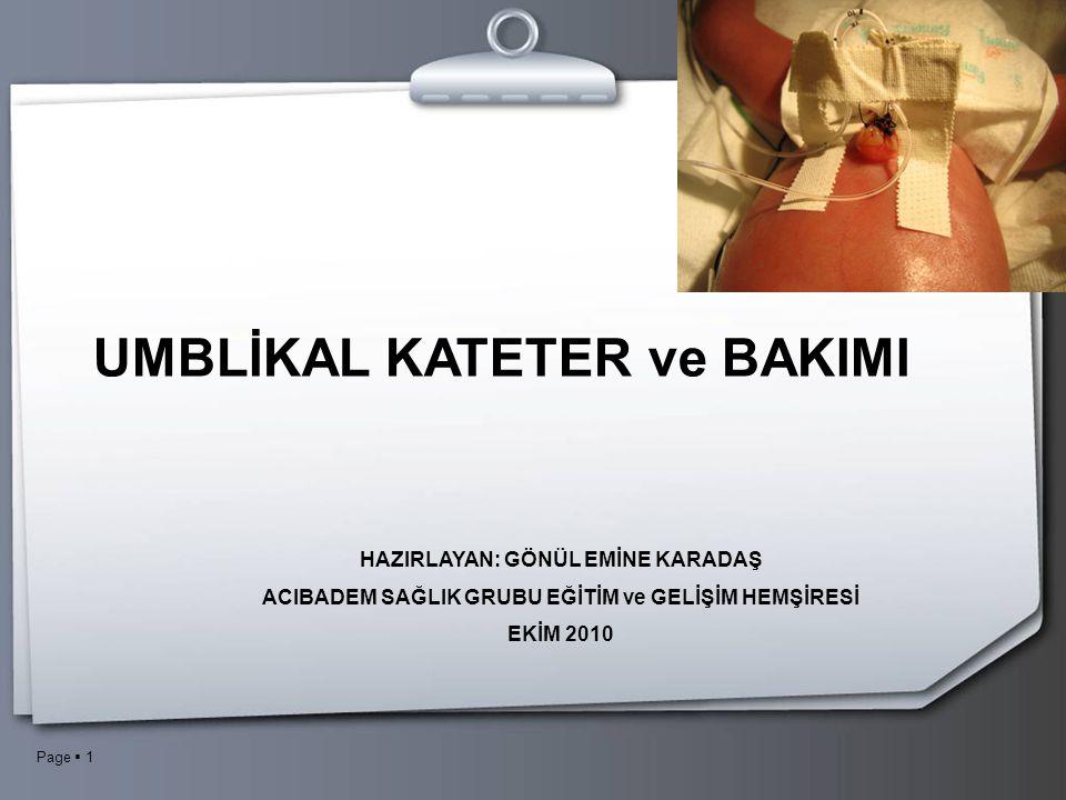UMBLİKAL KATETER ve BAKIMI