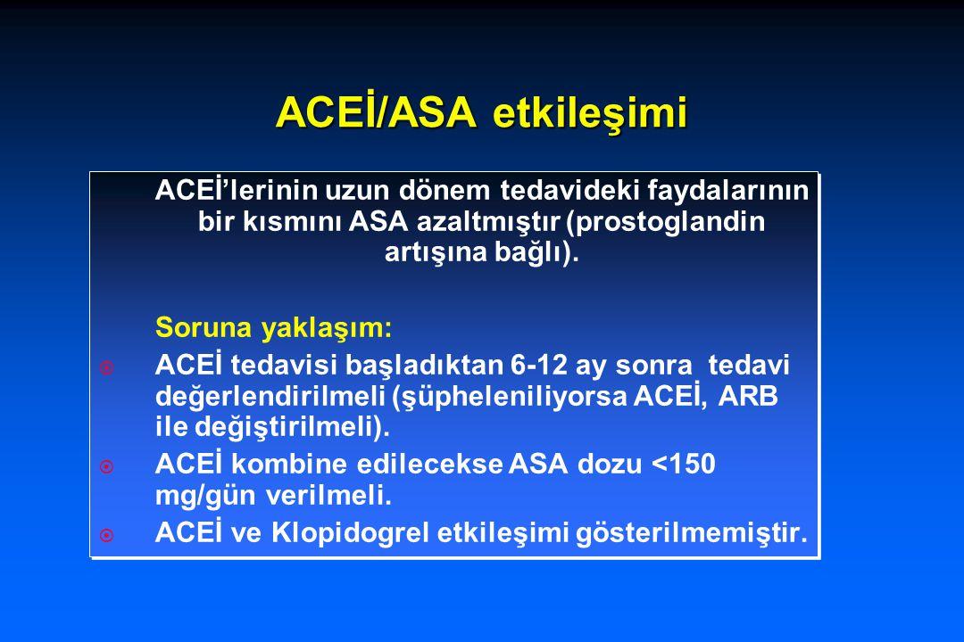 ACEİ/ASA etkileşimi ACEİ'lerinin uzun dönem tedavideki faydalarının bir kısmını ASA azaltmıştır (prostoglandin artışına bağlı).
