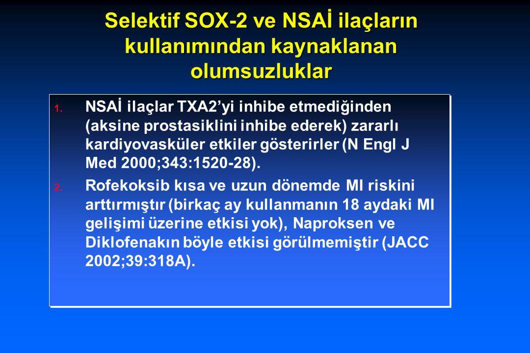Selektif SOX-2 ve NSAİ ilaçların kullanımından kaynaklanan olumsuzluklar