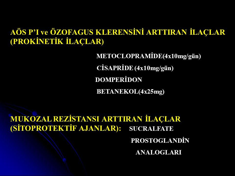 AÖS P'I ve ÖZOFAGUS KLERENSİNİ ARTTIRAN İLAÇLAR (PROKİNETİK İLAÇLAR)