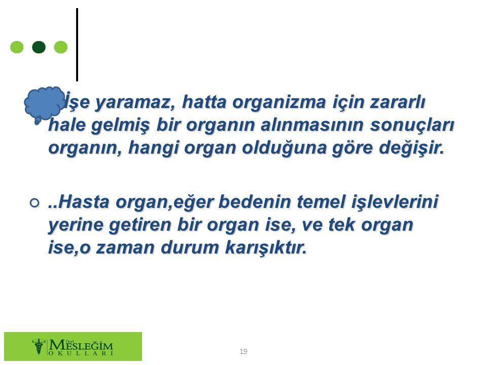 İşe yaramaz, hatta organizma için zararlı hale gelmiş bir organın alınmasının sonuçları organın, hangi organ olduğuna göre değişir.