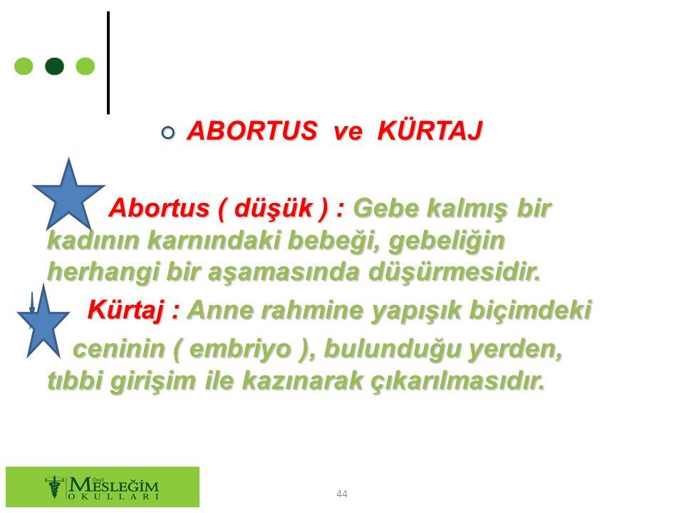 ABORTUS ve KÜRTAJ Abortus ( düşük ) : Gebe kalmış bir kadının karnındaki bebeği, gebeliğin herhangi bir aşamasında düşürmesidir.