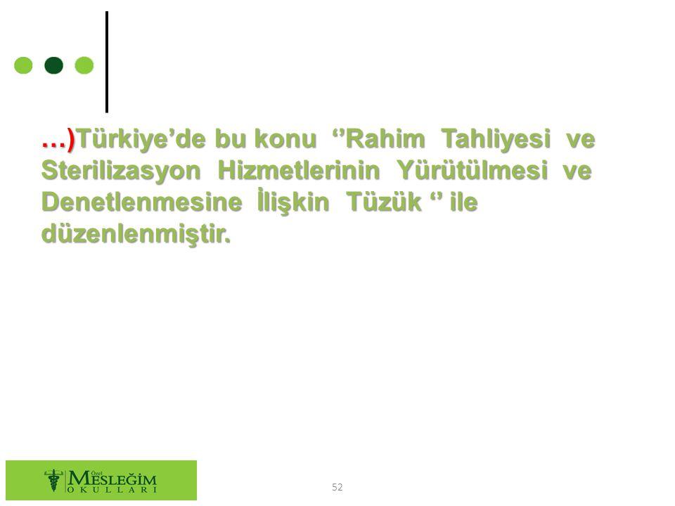 …)Türkiye'de bu konu ''Rahim Tahliyesi ve Sterilizasyon Hizmetlerinin Yürütülmesi ve Denetlenmesine İlişkin Tüzük '' ile düzenlenmiştir.