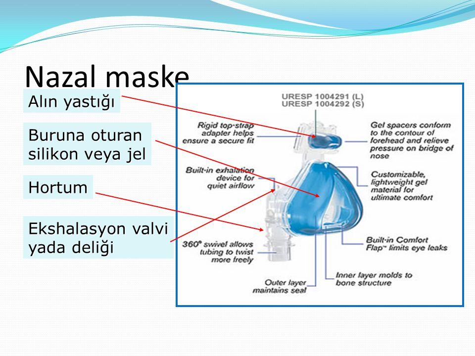 Nazal maske Alın yastığı Buruna oturan silikon veya jel Hortum