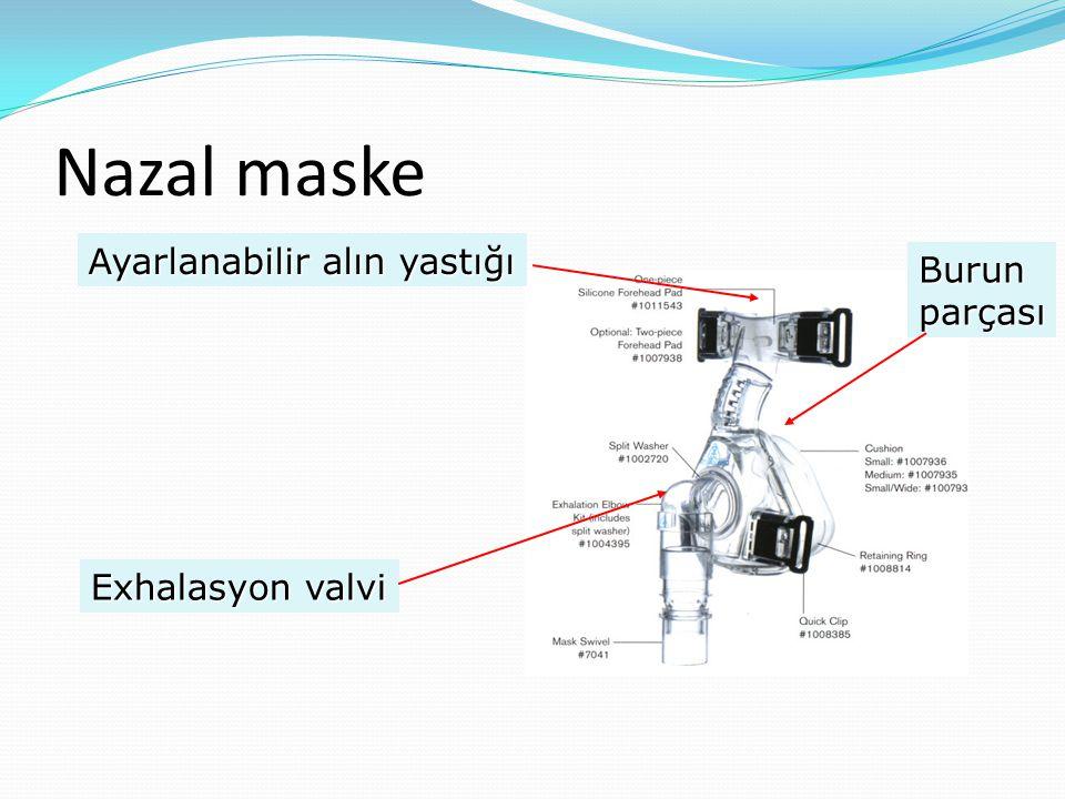 Nazal maske Ayarlanabilir alın yastığı Burun parçası Exhalasyon valvi