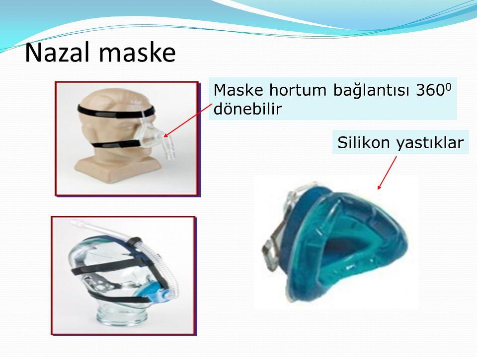 Nazal maske Maske hortum bağlantısı 3600 dönebilir Silikon yastıklar