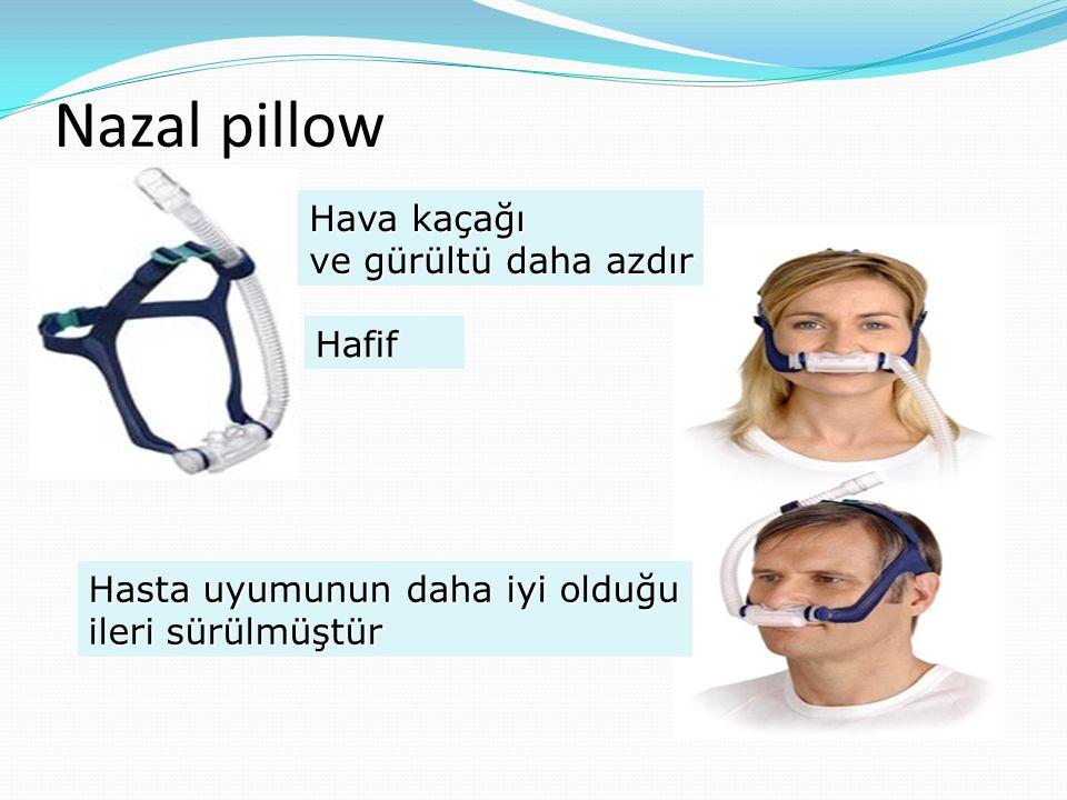 Nazal pillow Hava kaçağı ve gürültü daha azdır Hafif