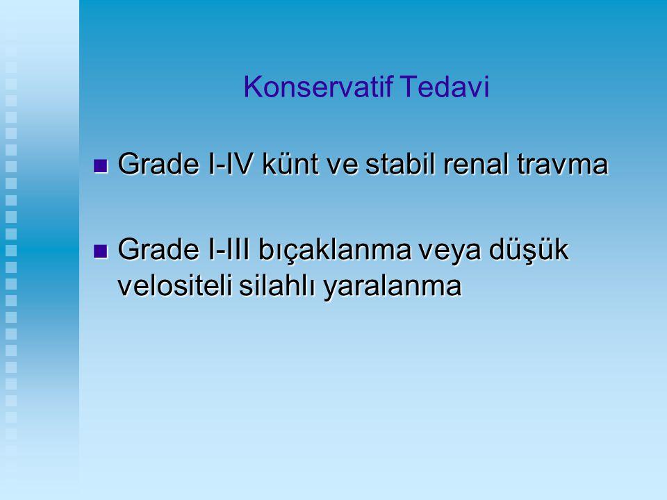 Konservatif Tedavi Grade I-IV künt ve stabil renal travma.