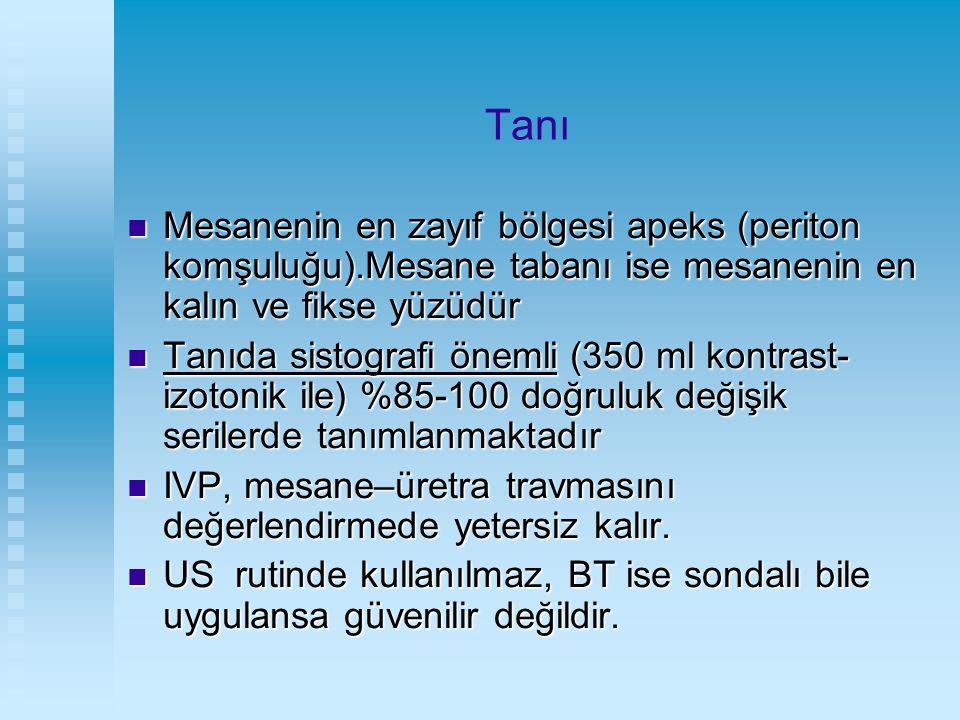 Tanı Mesanenin en zayıf bölgesi apeks (periton komşuluğu).Mesane tabanı ise mesanenin en kalın ve fikse yüzüdür.