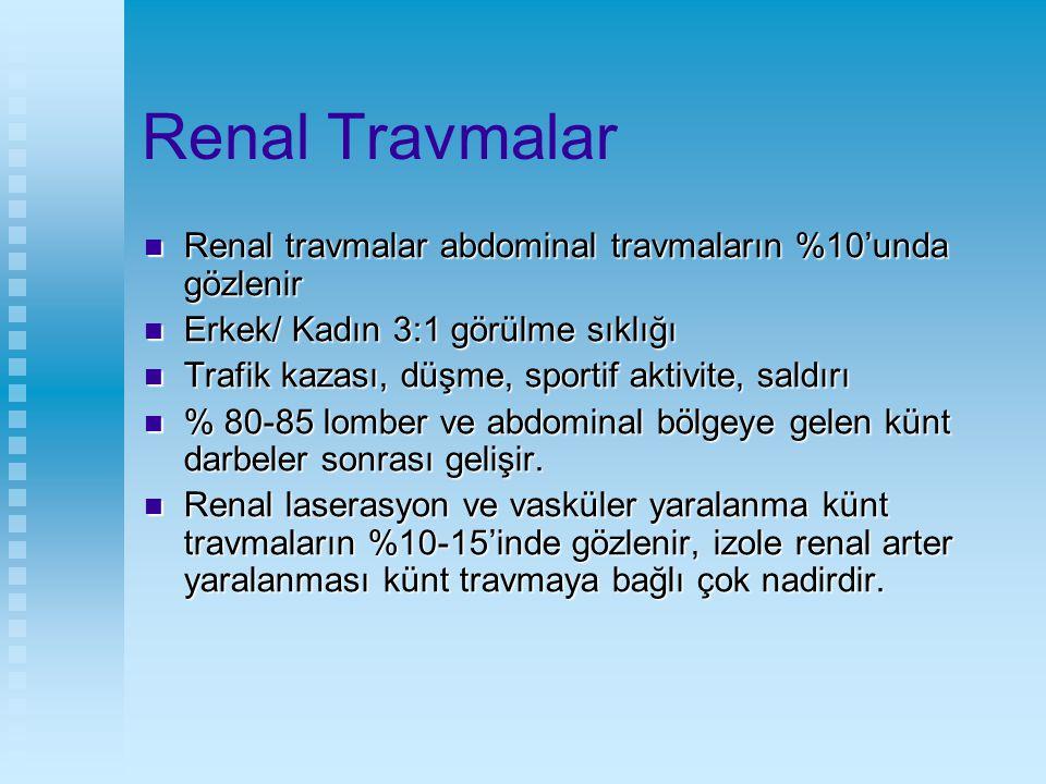 Renal Travmalar Renal travmalar abdominal travmaların %10'unda gözlenir. Erkek/ Kadın 3:1 görülme sıklığı.