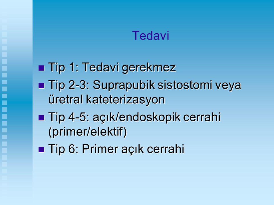 Tedavi Tip 1: Tedavi gerekmez. Tip 2-3: Suprapubik sistostomi veya üretral kateterizasyon. Tip 4-5: açık/endoskopik cerrahi (primer/elektif)