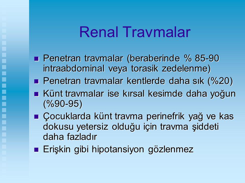 Renal Travmalar Penetran travmalar (beraberinde % 85-90 intraabdominal veya torasik zedelenme) Penetran travmalar kentlerde daha sık (%20)