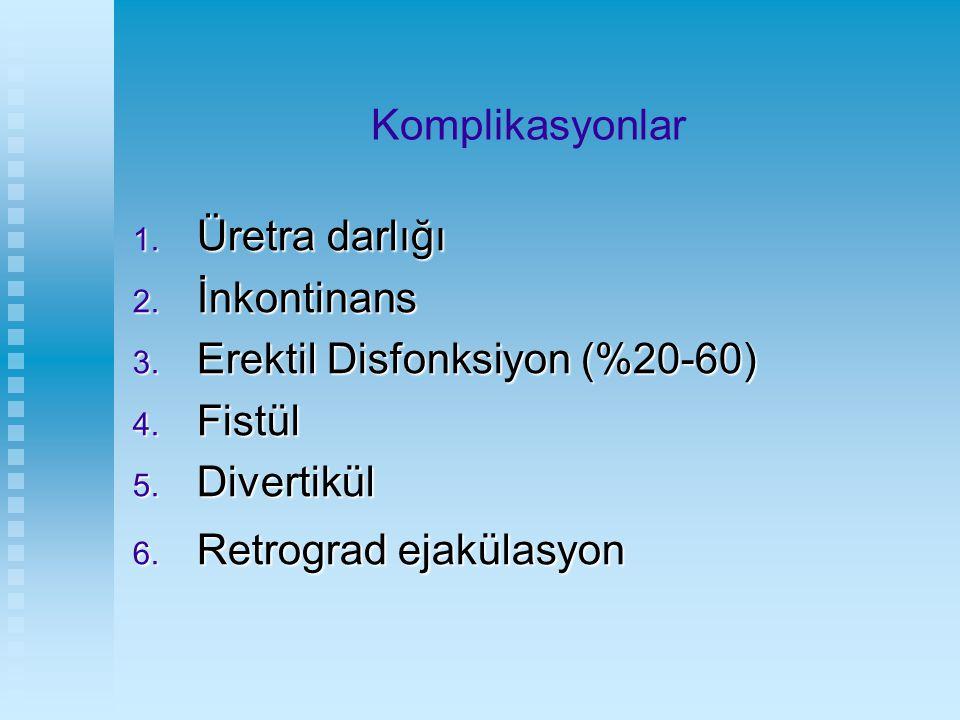 Komplikasyonlar Üretra darlığı. İnkontinans. Erektil Disfonksiyon (%20-60) Fistül.