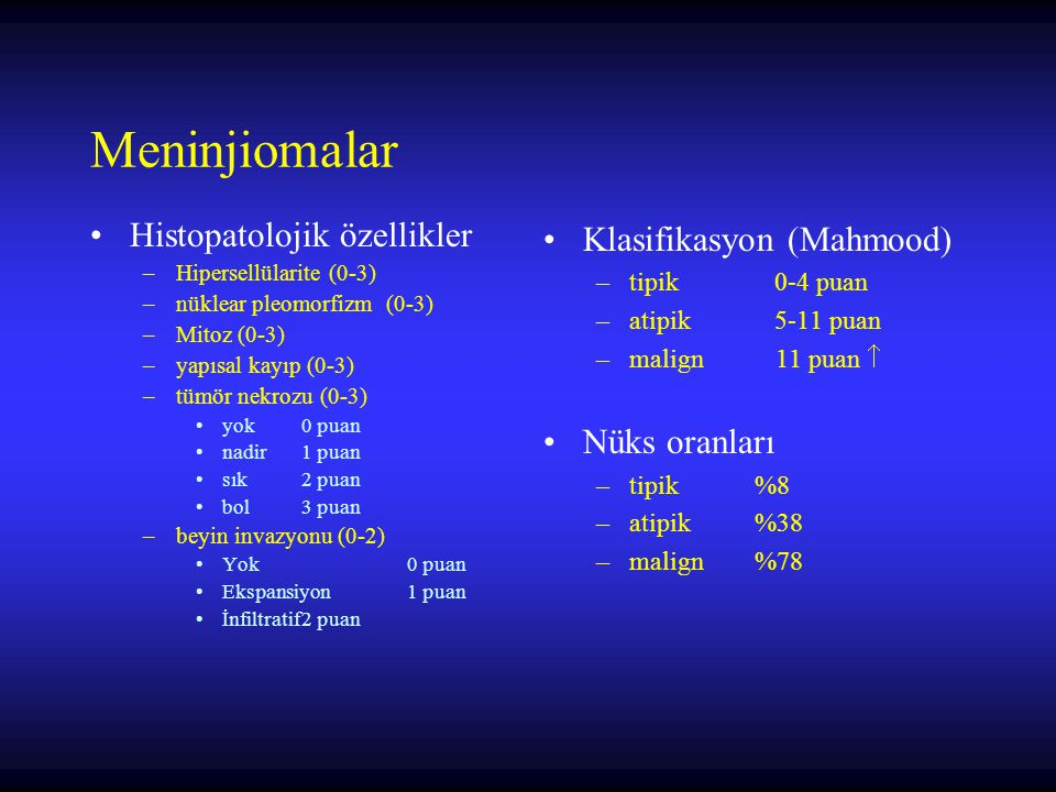 Meninjiomalar Histopatolojik özellikler Klasifikasyon (Mahmood)