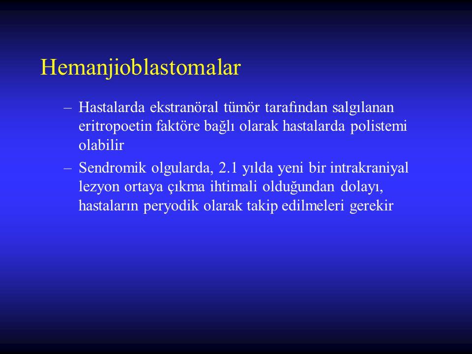 Hemanjioblastomalar Hastalarda ekstranöral tümör tarafından salgılanan eritropoetin faktöre bağlı olarak hastalarda polistemi olabilir.