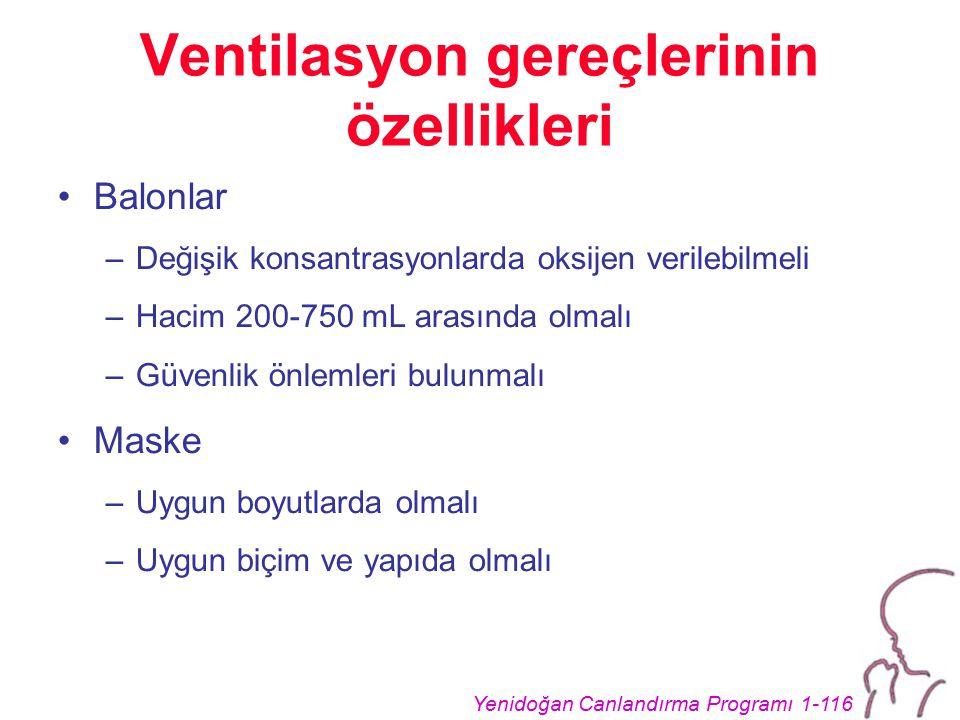 Ventilasyon gereçlerinin özellikleri