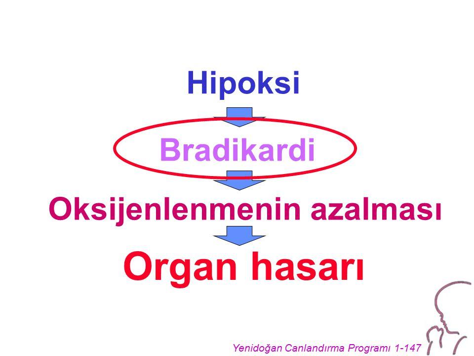 Hipoksi Bradikardi Oksijenlenmenin azalması Organ hasarı