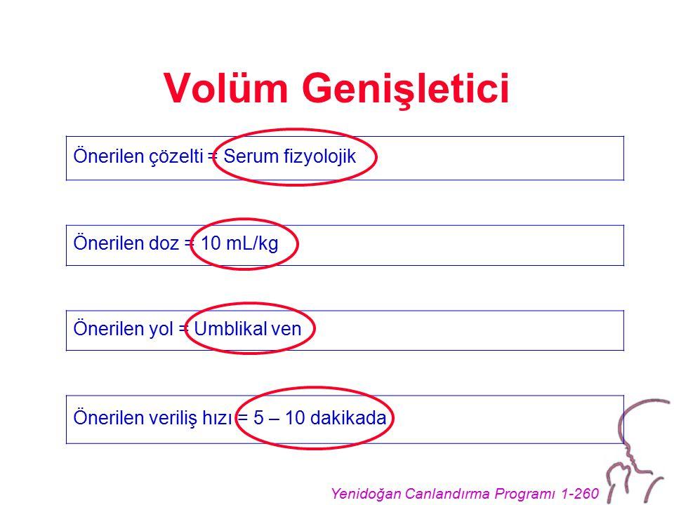 Volüm Genişletici Önerilen çözelti = Serum fizyolojik