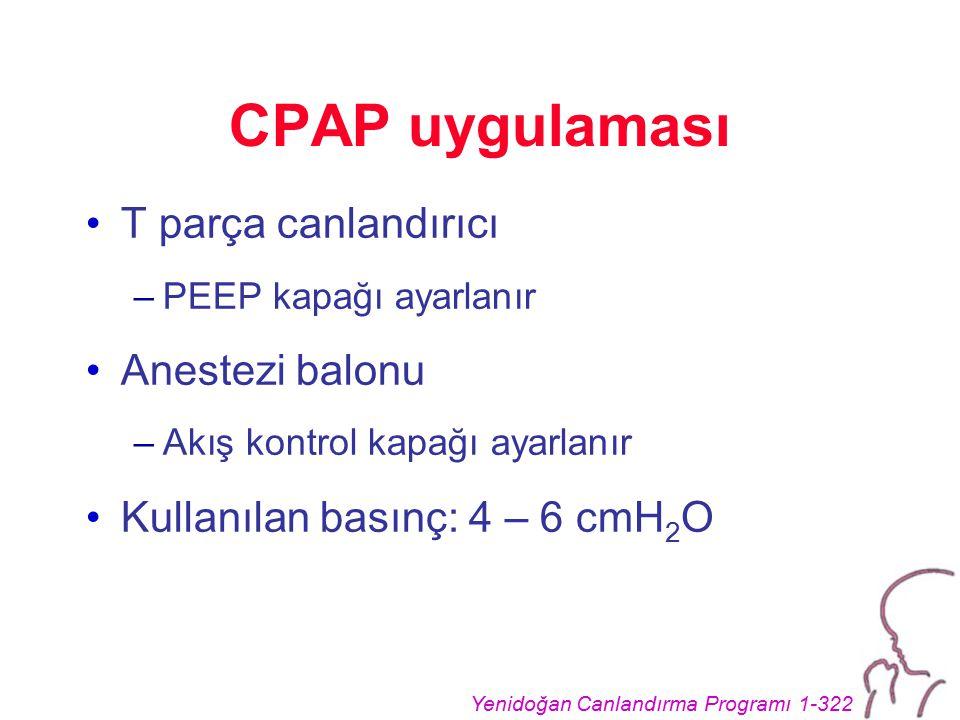 CPAP uygulaması T parça canlandırıcı Anestezi balonu