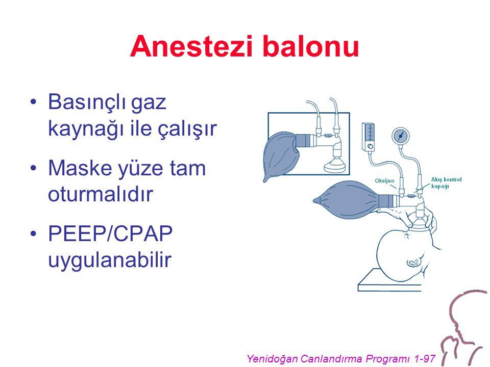 Anestezi balonu Basınçlı gaz kaynağı ile çalışır