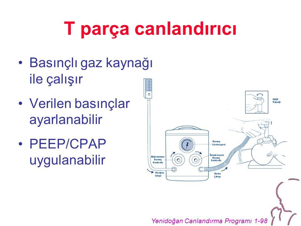 T parça canlandırıcı Basınçlı gaz kaynağı ile çalışır