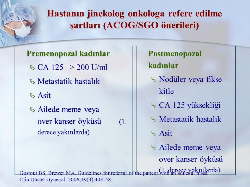 Hastanın jinekolog onkologa refere edilme şartları (ACOG/SGO önerileri)