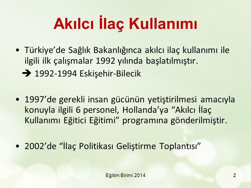 Akılcı İlaç Kullanımı Türkiye'de Sağlık Bakanlığınca akılcı ilaç kullanımı ile ilgili ilk çalışmalar 1992 yılında başlatılmıştır.