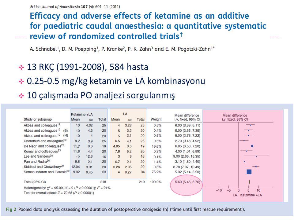 0.25-0.5 mg/kg ketamin ve LA kombinasyonu
