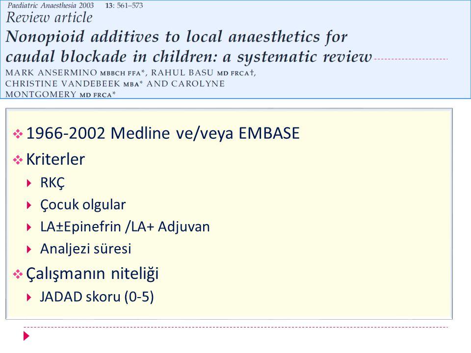 1966-2002 Medline ve/veya EMBASE Kriterler