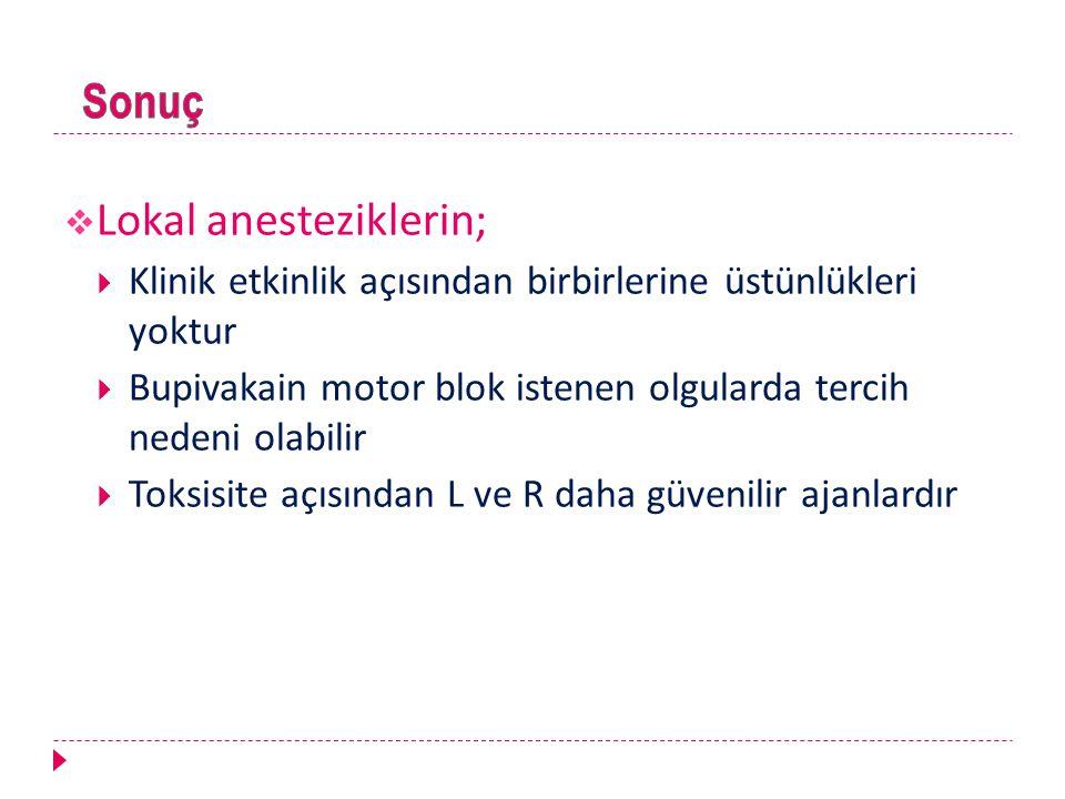Lokal anesteziklerin;